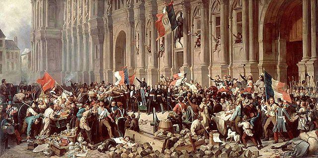 Henri Félix Emmanuel Philippoteaux: Lamartine verwehrt am 25. Februar 1848 der Roten Fahne das Eindringen in das Pariser Rathaus, Public Domain, via Wikimedia Commons