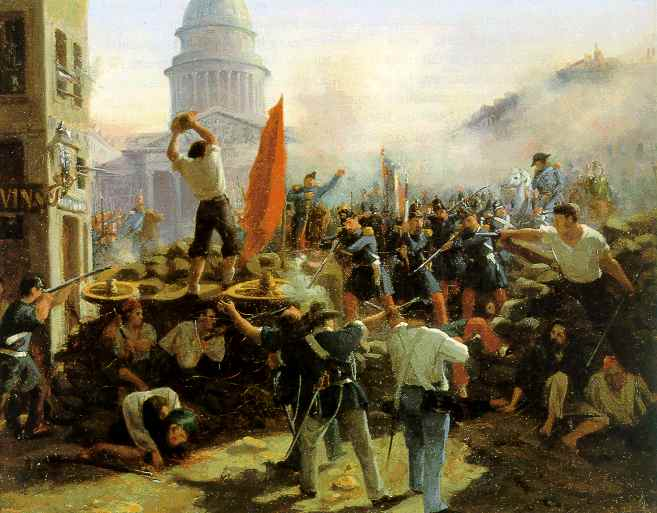 Horace Vernet: Painting of Battle at Soufflot barricades at Rue Soufflot Street on 24 June 1848, Public domain, via Wikimedia Commons.